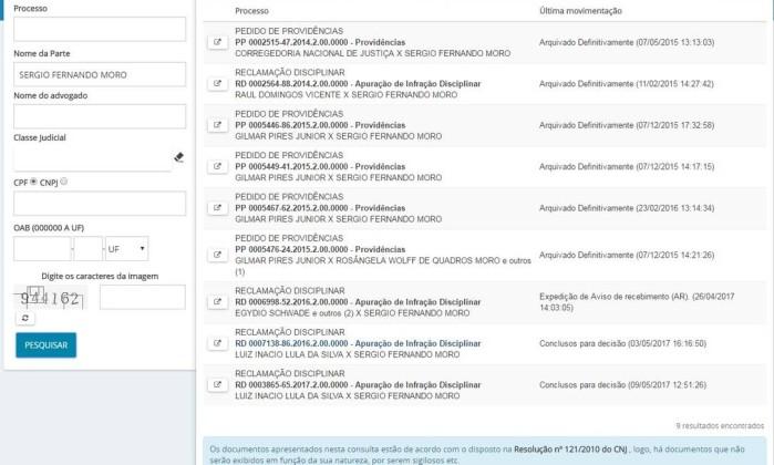 Processos contra Sérgio Moro no Conselho Nacional de Justiça (CNJ) - Reprodução