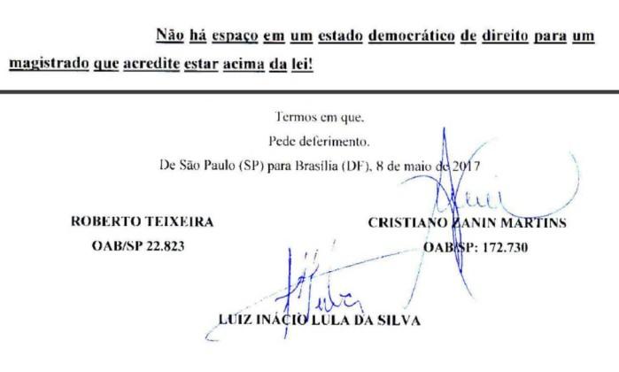 Trechos da petição de Lula e seus advogados ao CNJ - Reprodução
