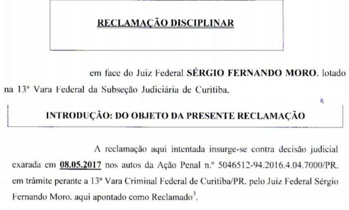 Lula entra com reclamação contra Sérgio Moro no CNJ - Reprodução